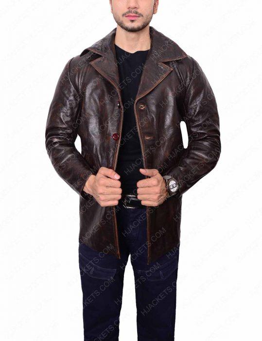 dark brown shirt collar leather jacket