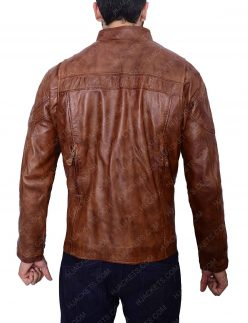 mens brown slim fit leather jacket