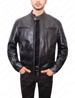Mens Black Leather Double Pocket Leather Jacket