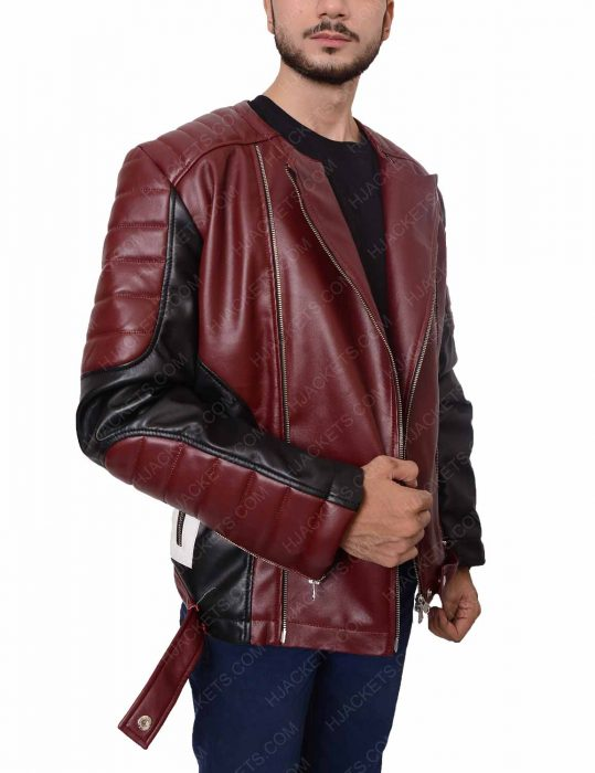 Mens Padded Shoulder Red Biker Leather Jacket