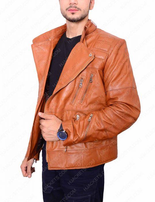 Mens Padded Brown Motorcycle Jacket