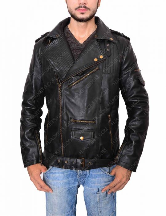 black leather jacket mens biker