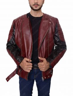 mens biker padded shoulder jacket