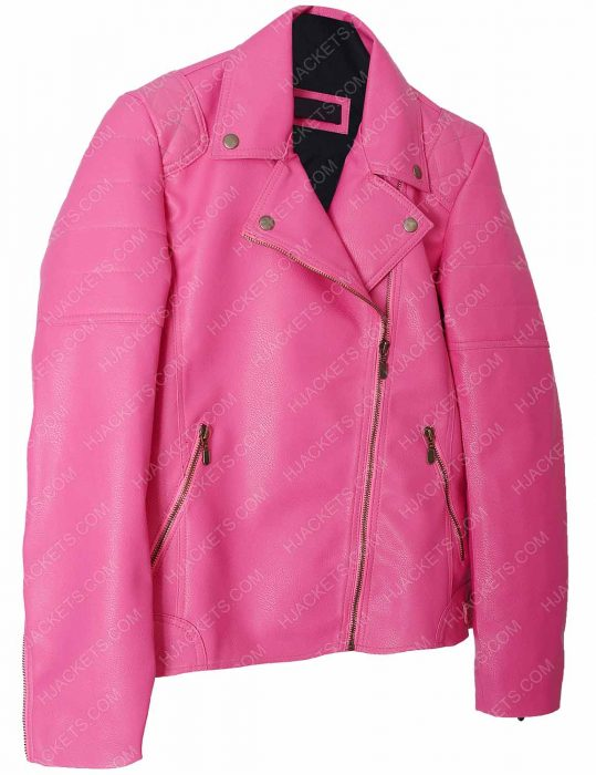 womens pink faux biker quilted jacket