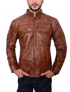 Mens Brown Slim Fit Biker Leather Jacket