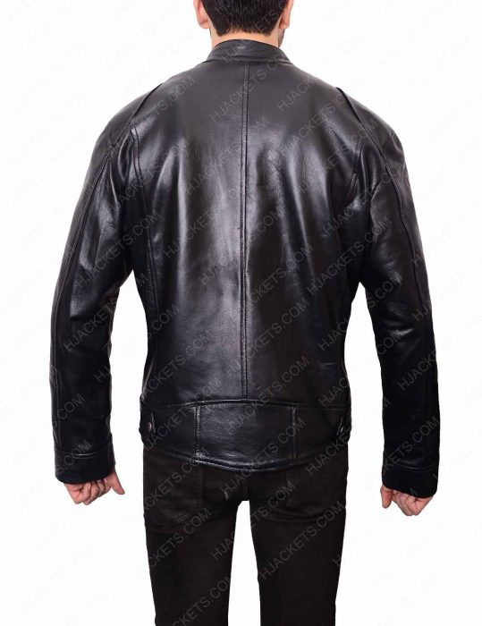 Mens Black Leather Double Pocket Leather Jacket