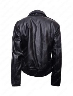 womens double pocket leather jacket