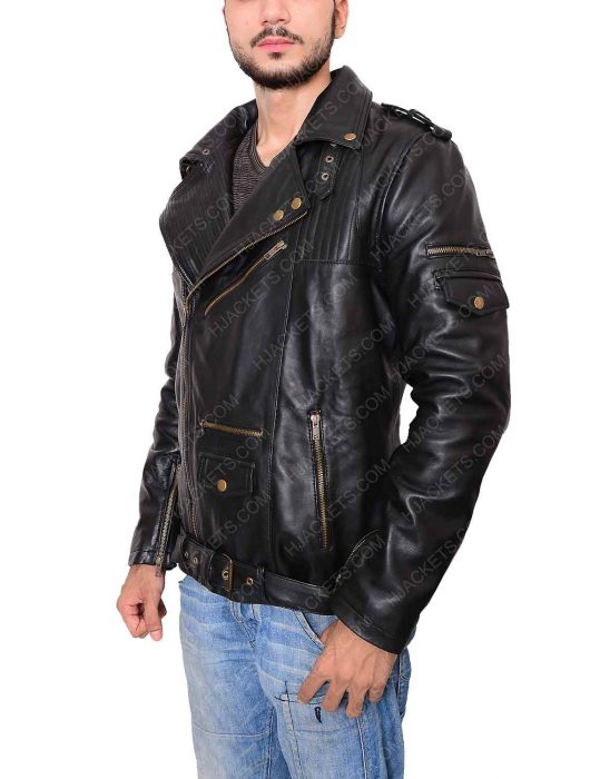 black jacket mens biker