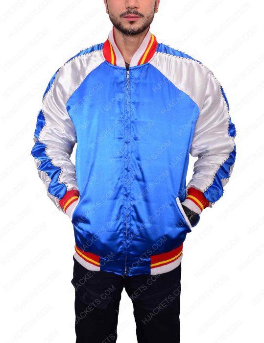 blue saint laurent satin bomber jacket