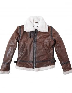 women's distressed brown aviator jacket