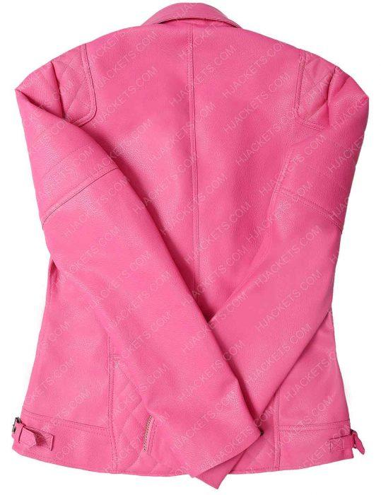 Womens pink Biker Leather Jacket