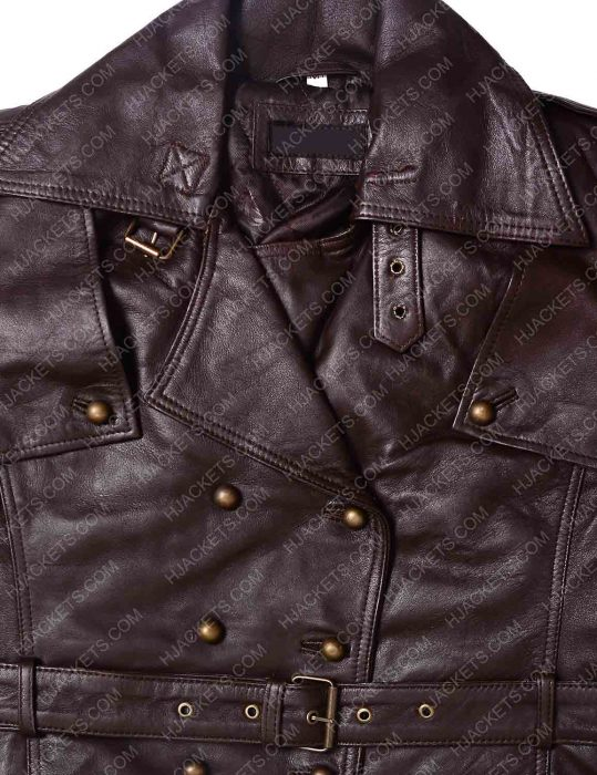 Women Safari Lambskin Brown Leather Jacket