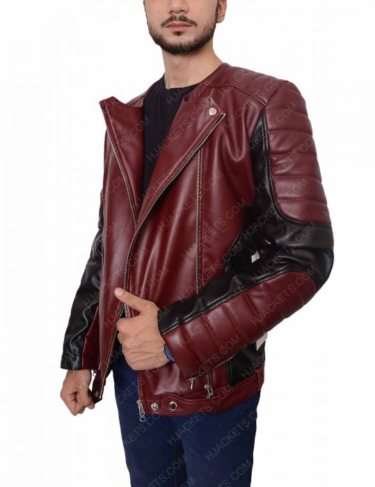 Mens Padded Shoulder Red Biker Jacket