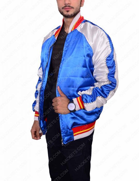 satin bomber blue jacket