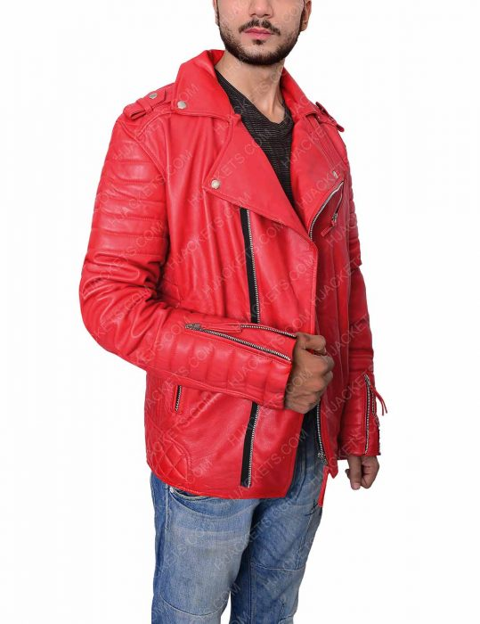 Mens Asymmetrical Padded Red Biker Jacket