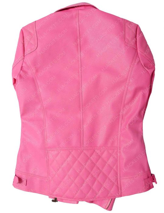 womens pink biker quilted jacket