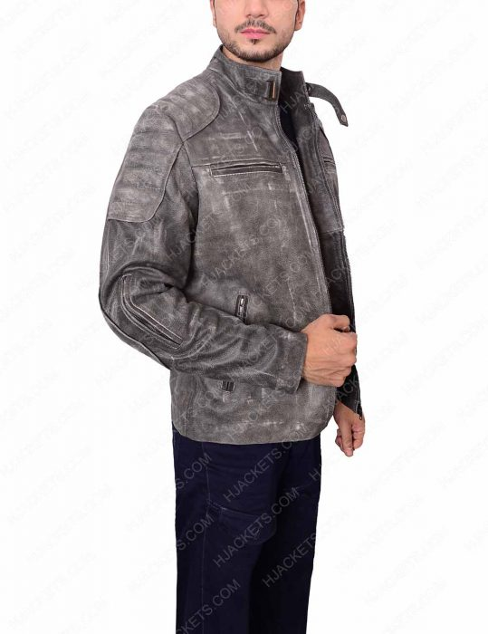 mens grey waxed jacket