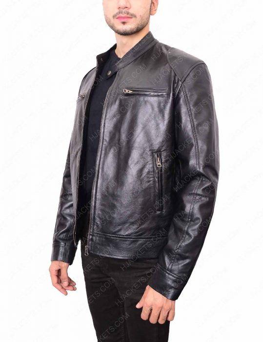 Mens Black Double Pocket Jacket