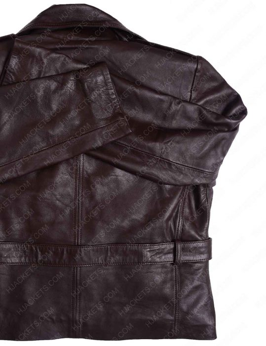 Women Safari Lambskin Belted Brown leather Jacket