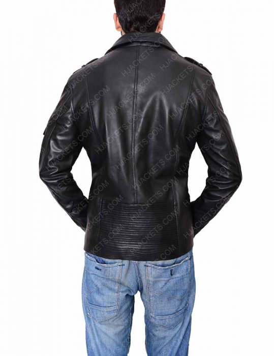 mens biker black jacket