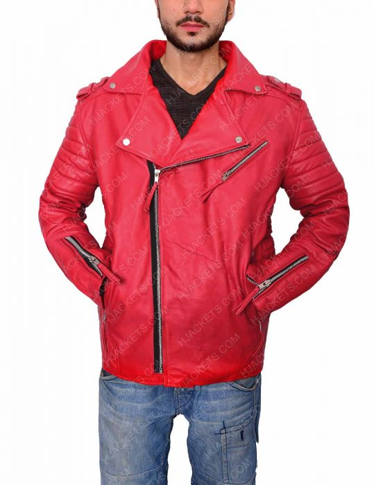 men's asymmetrical style padded red leather biker jacket