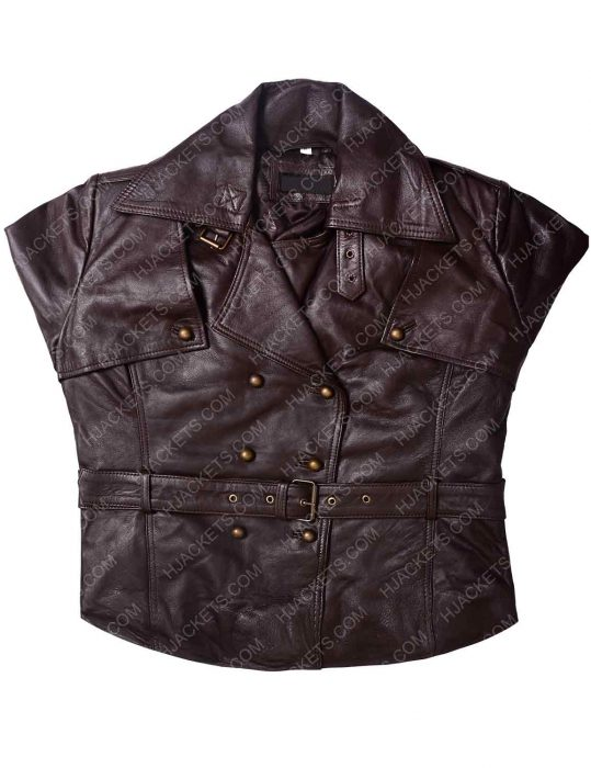 Women Safari Lambskin Belted Brown Jacket