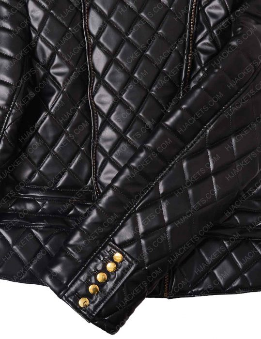 Womens Nicki Minaj Black Quilted Leather Jacket