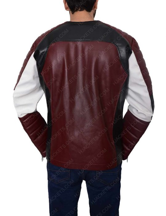 mens biker padded shoulder leather jacket