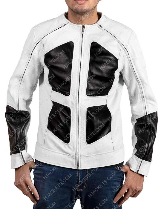 Deadpool 2 Shatterstar Black and White Leather Jacket