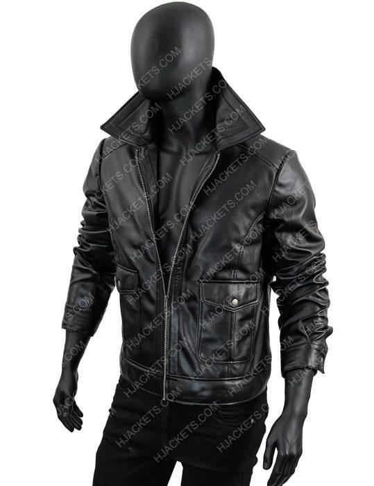 Men's-Slimfit-Black-Zipper-Leather-Jacket