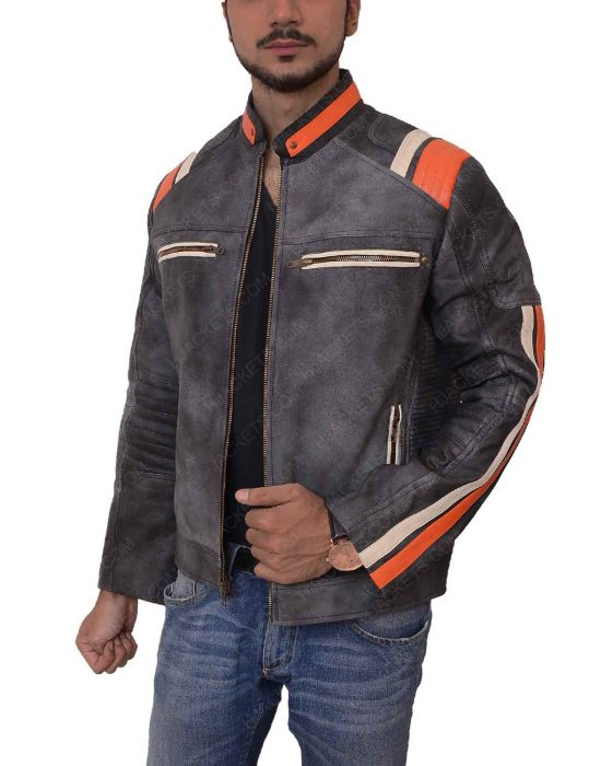 cafe racer grey waxed leather distressed jacket