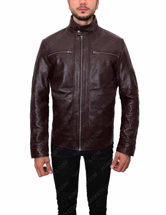 dark brown mens casual leather jacket