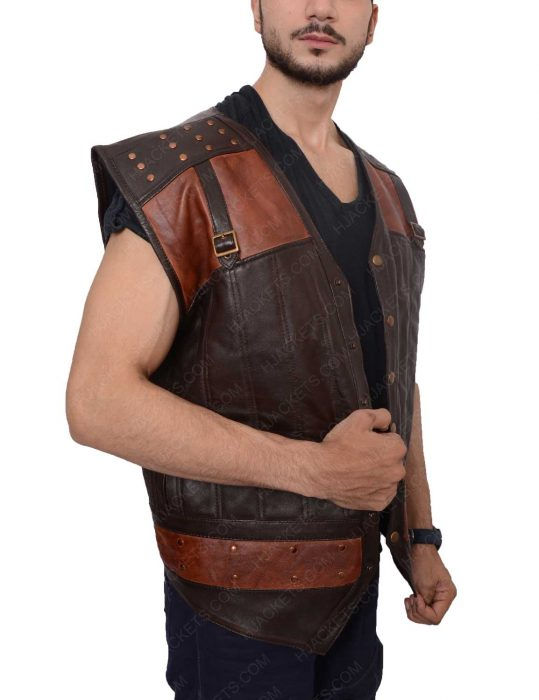 dyson thornwood dark brown leather vest