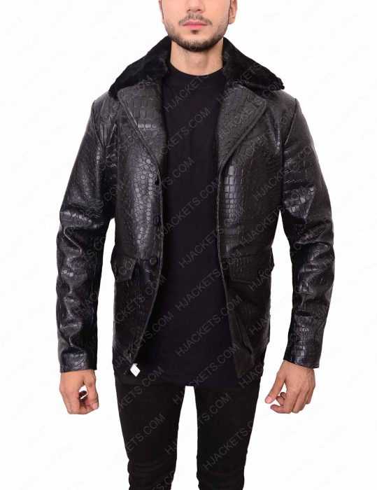 embossed black crocodile jacket