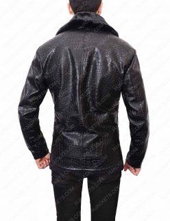 embossed black crocodile leather jacket