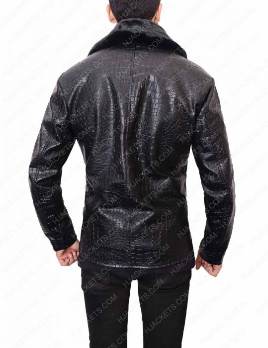 embossed black crocodile leather jacket