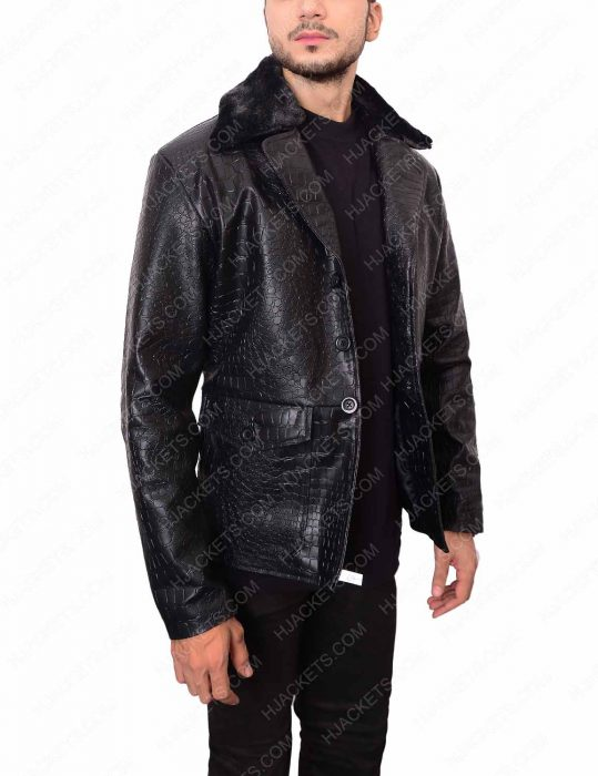 embossed crocodile black leather jacket