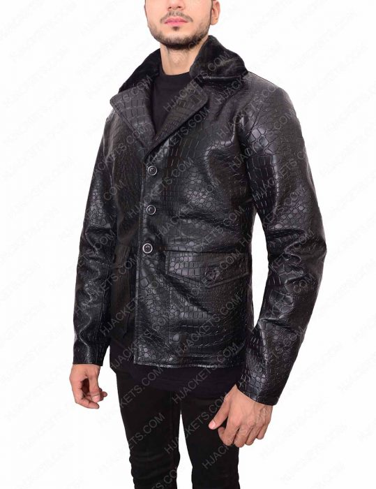embossed crocodile mafia 2 leather jacket