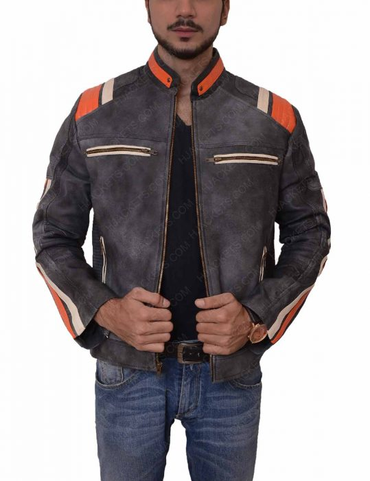 grey waxed cafe racer leather jacket