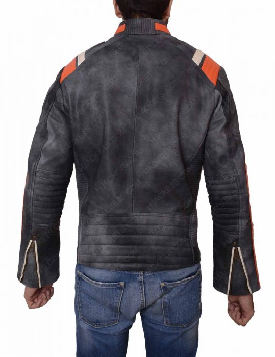 grey waxed leather cafe racer jacket
