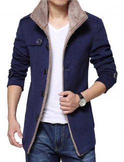 mens blue wool shearling jacket