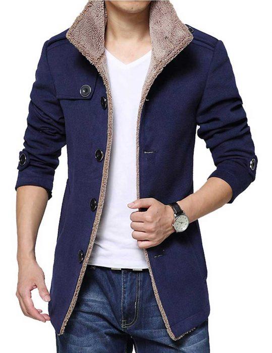 mens blue wool shearling jacket