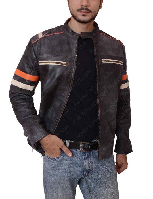 mens cafe racer double pocket jacket