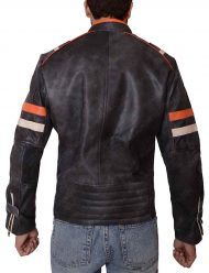 mens cafe racer double pocket leather jacket