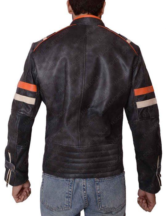 mens cafe racer double pocket leather jacket
