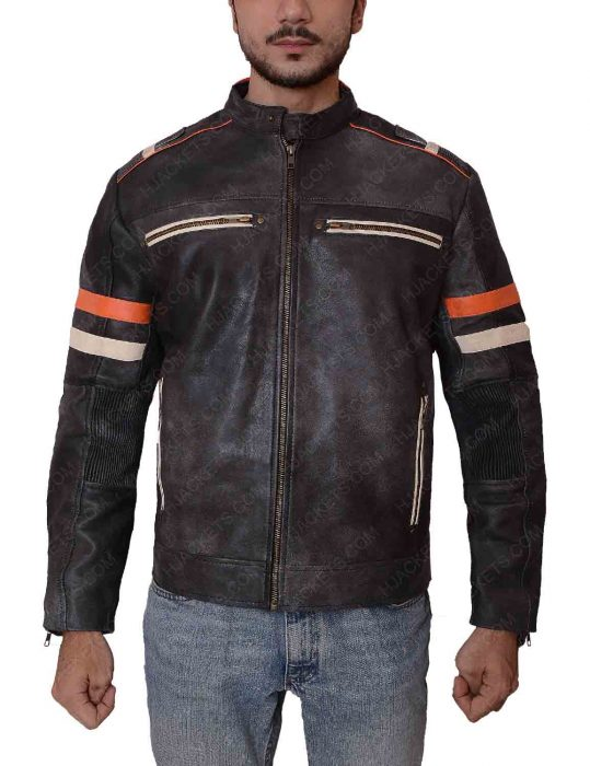 mens cafe racer red and white stripes leather jacket