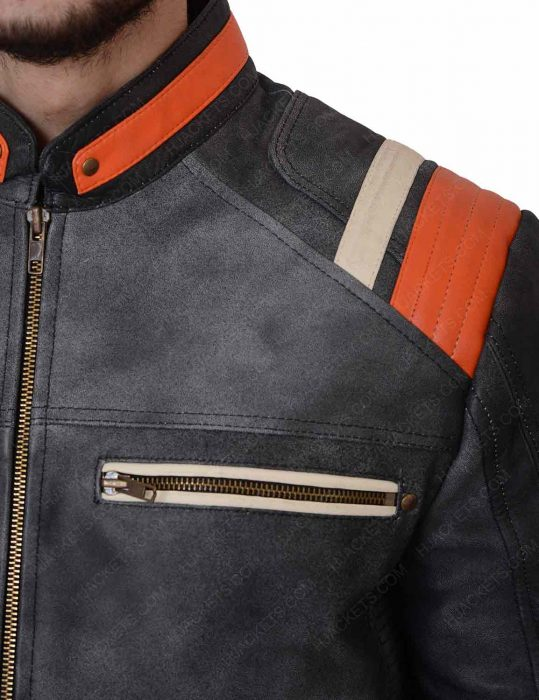 mens grey cafe racer waxed jacket