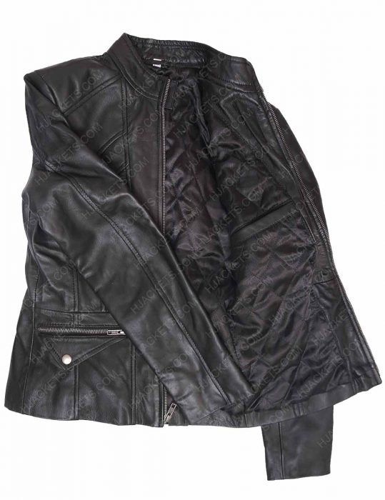 new zealand women's black leather lambskin scuba jacket