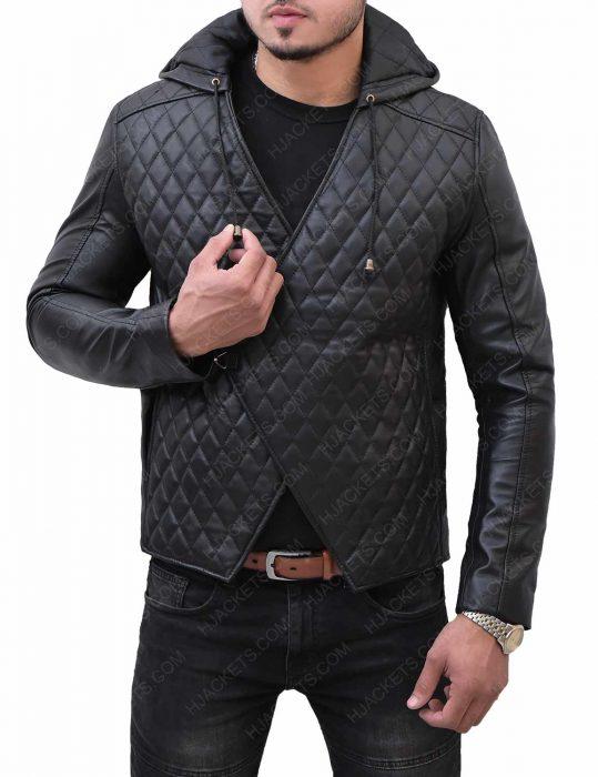 taron-egerton-black-quilted-leather-jacket