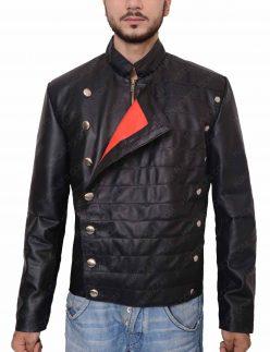 westworld military black leather jacket